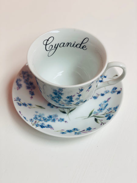Cyanide | vulgar vintage style 10oz tea cup and saucer
