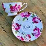Go fuck yourself | vulgar vintage style pink floral china tea cup w/ 'Bitch' saucer
