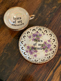 tears of my enemies | Vulgar vintage floral tea cup with matching saucer