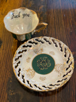 Fuck you. | vulgar vintage tea cup with matching saucer