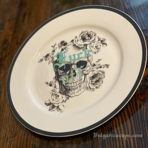 Fuck off | Vulgar vintage style 7 in decorative salad plate