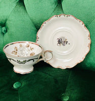 You've been poisoned. | Vulgar vintage Moon Rose tea cup with matching 'Bye.' saucer