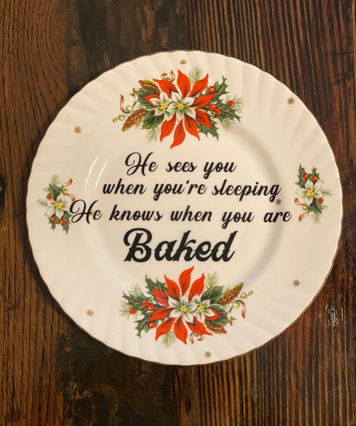 He sees you when you're sleeping. He knows when you are baked. | Vulgar vintage holiday salad plate