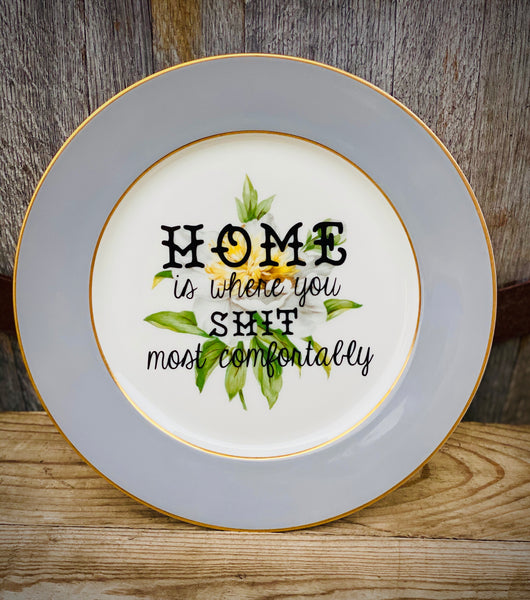 HOME is where you shit most comfortably | Vulgar vintage Princess China white peony 11in dinner plate with 22K gold edge