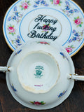 Happy fucking birthday Bitch | vulgar vintage bone china tea cup and saucer