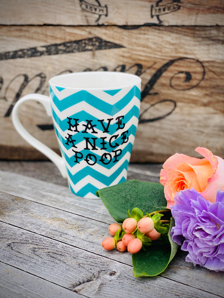 Have a nice poop | Vulgar teal chevron print coffee mug