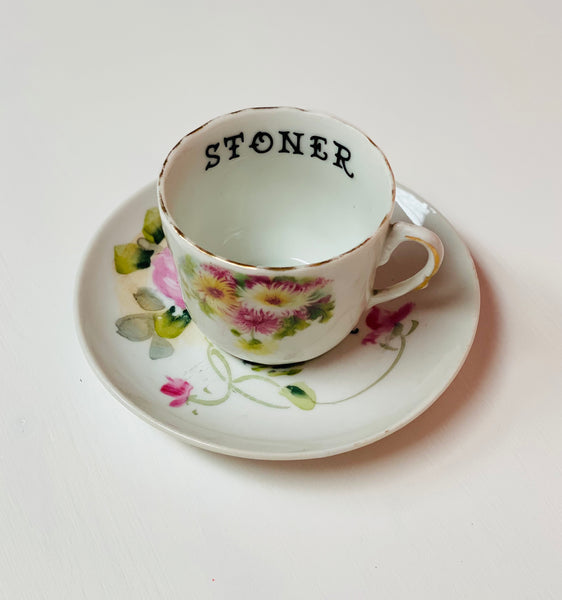 Stoner | vulgar vintage hand painted demitasse tea cup and saucer