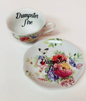 Dumpster fire | vulgar vintage style tea cup and saucer