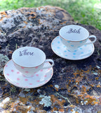 2 insult tea cups  | Vulgar vintage style cups with matching saucers