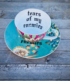 Tears of my enemies | vulgar vintage style teal damask peacock tea cup with saucer