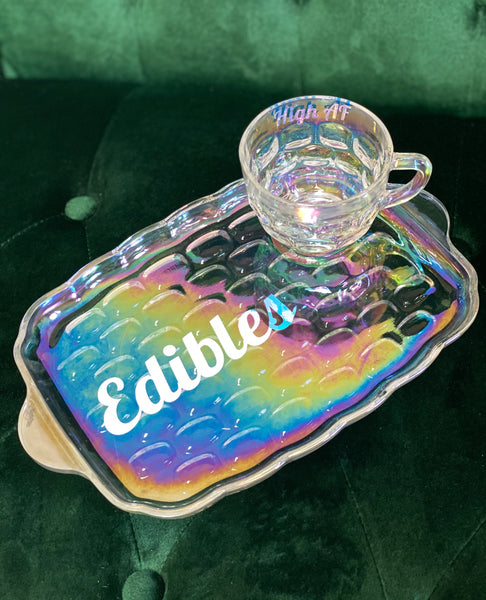 Edibles/High AF | Vulgar Vintage Federal Glass Iridescent Rainbow Snack Plate and cup