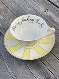 You're fucking lovely | vulgar vintage style yellow stripe tea cup and 'Bitch' saucer set