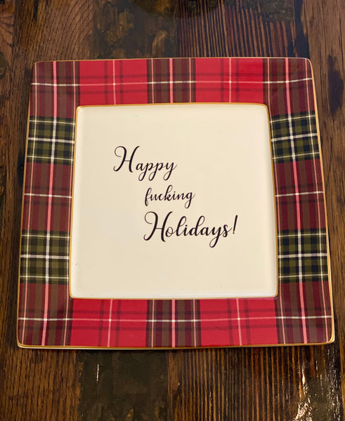 Happy fucking Holidays! | vulgar vintage holiday dinner plate