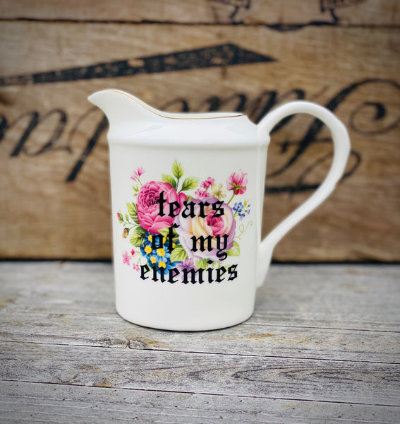 Tears of my enemies | Vulgar vintage style 12oz floral print pitcher