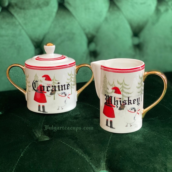 Cocaine & Whiskey | Vulgar vintage style 'Whiskey' creamer and 'Cocaine' sugar bowl