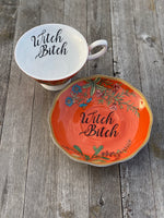 Witch Bitch | Vulgar vintage style tea cup and saucer