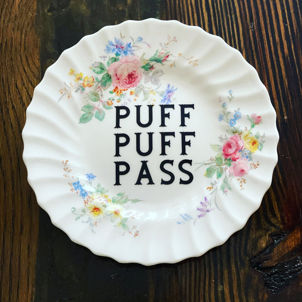 PUFF PUFF PASS | vulgar vintage Royal Doulton salad plate/rolling tray