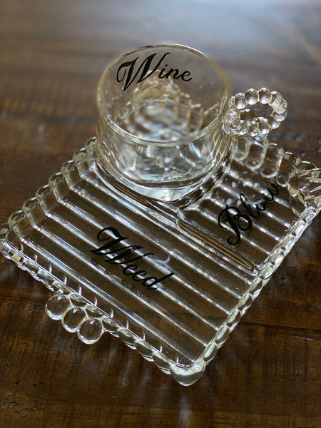 Wine, Weed, Blow | Vulgar vintage Hazel Atlas glass tea cup and snack plate