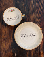 Eat a Dick | vulgar vintage Meito tea cup and saucer