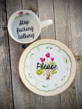 Stop fucking talking. | vulgar vintage bone china tea cup and 'Please.'  saucer