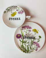 Stoner | vulgar vintage style floral tea cup and saucer