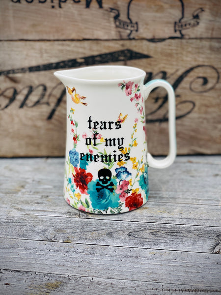 Tears of my enemies | Vulgar vintage style 20oz floral print pitcher
