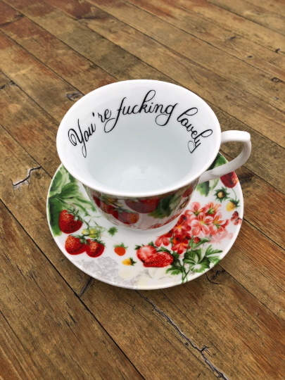 You're fucking lovely | vulgar vintage style pink flowers and berries tea cup and 'Bitch' saucer set