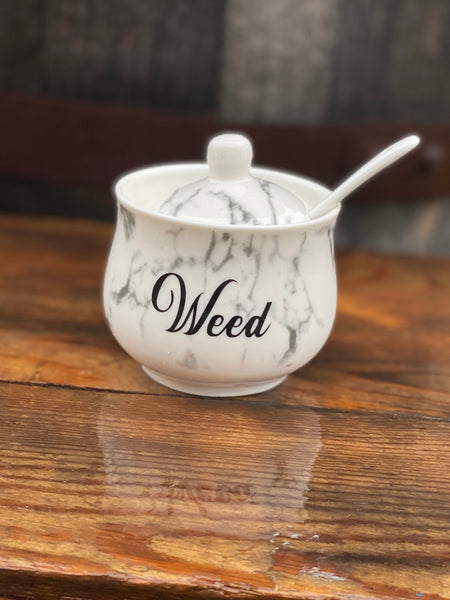 Weed | vulgar vintage style marble print sugar bowl/stash box with lid and spoon