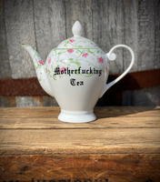 Motherfucking tea | vulgar vintage style ornate pedestal tea pot