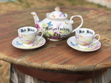 Mother fucking Tea' pot with 2 'Bad Bitch' tea cups  | TRIO | Vulgar vintage style butterfly tea pot and cups with matching saucers
