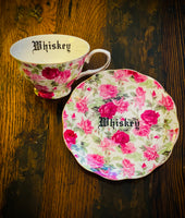 Whiskey | vulgar vintage style pink floral china tea cup and saucer
