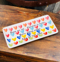 Love poem  | Vulgar vintage style watercolor heart rolling tray, one of a kind!