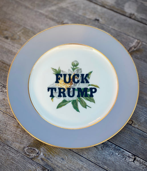 Fuck Trump | Vulgar vintage Princess China white peony 8in salad plate with 22K gold edge