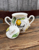 Weed | vulgar vintage style lemon and bumblebee print sugar bowl/stash box