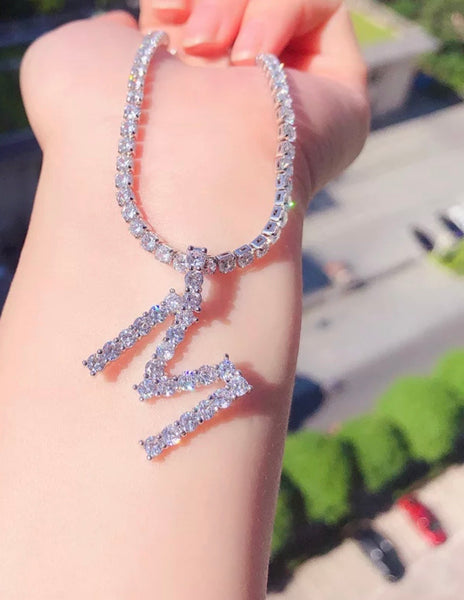 Icy Initial Tennis Necklace