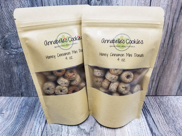 Honey Cinnamon Mini Donuts Handmade Gourmet Dog Treats - 4 oz. Bag