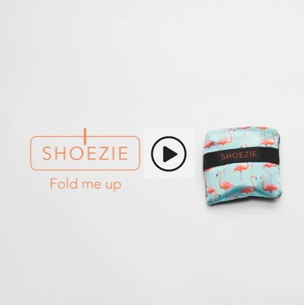 Folded Shoezie tote bag with link to short video showing how to fold bag