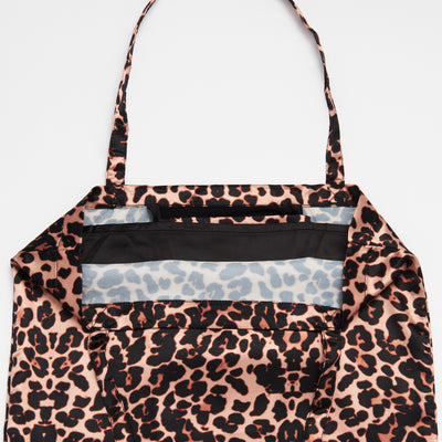 Leopard Print Patterned Shoezie Satin Tote bag, showing internal satin divider used to seperate and protect shoes from rubbing