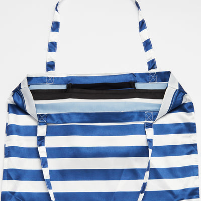 Navy and White Striped Patterned Shoezie Satin Tote bag, showing internal satin divider used to seperate and protect shoes from rubbing