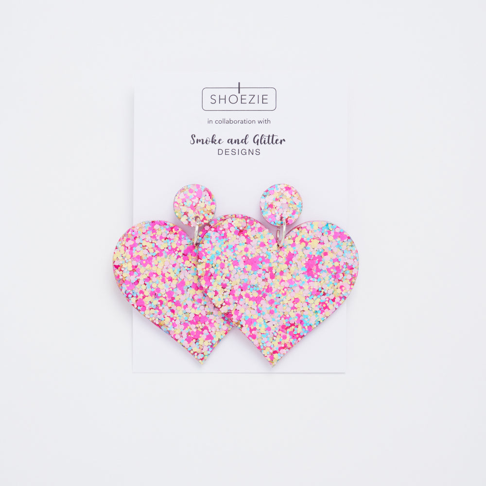 Shoezie in Collaboration with Smoke and Glitter Designs Confetti patterned, heart shaped earrings