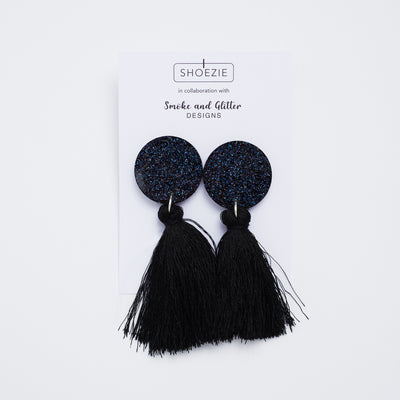 Collaboration between Shoezie and Smoke and Glitter Designs Black Earrings
