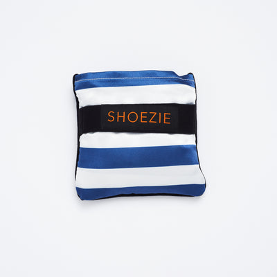 Navy and White Striped Patterned Shoezie Satin Tote bag, folded in pouch. The bag designed for carrying shoes