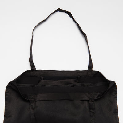 Black Shoezie Satin Tote bag, showing internal Satin Divider to protect shoes from rubbing