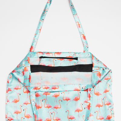 Blue and Pink Flamingo Patterned Shoezie Satin Tote bag, showing internal satin divider used to separate and protect shoes..