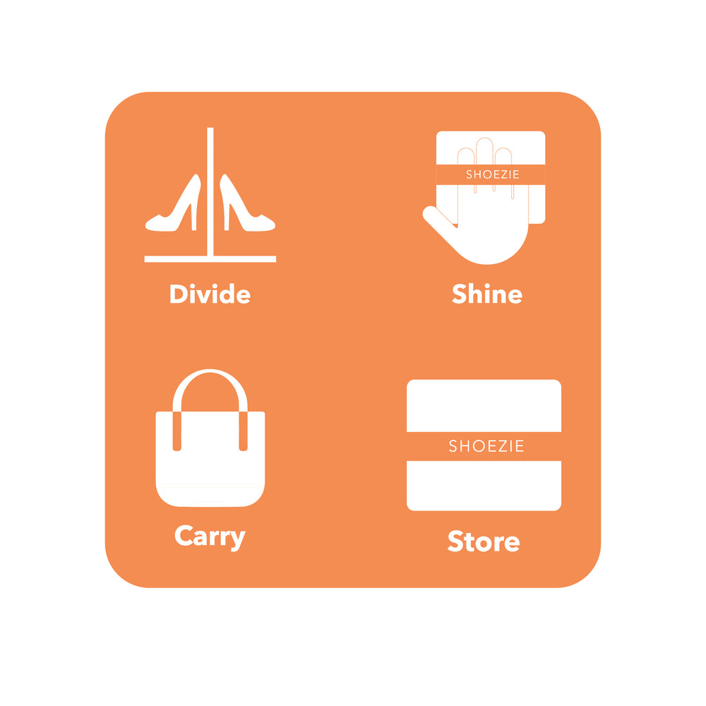 Icons showing Divide, Shine, Carry, Store - the 4 Key features of the Shoezie Satin Tote Bag