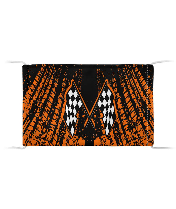 Dirt Racing Face Mask Orange Cloth Face Mask