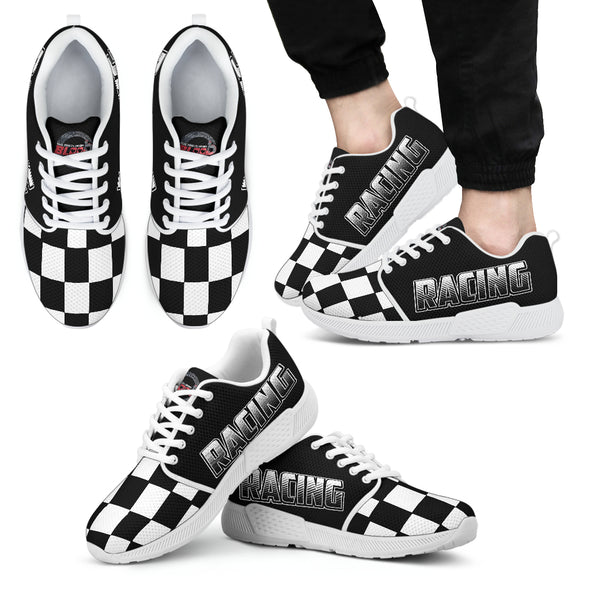 Racing Checkered Flag Athletic Sneakers Men's