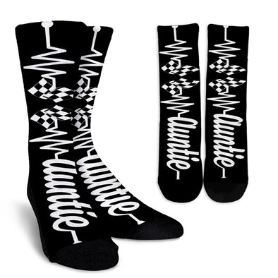 Racing Auntie Heartbeat Crew Socks