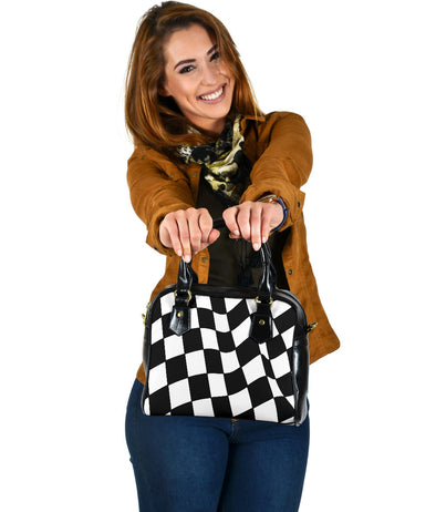 Racing Checkered Flag Shoulder Handbag