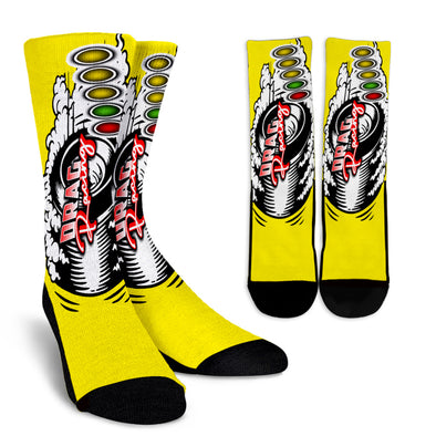 Drag Racing Crew Socks red